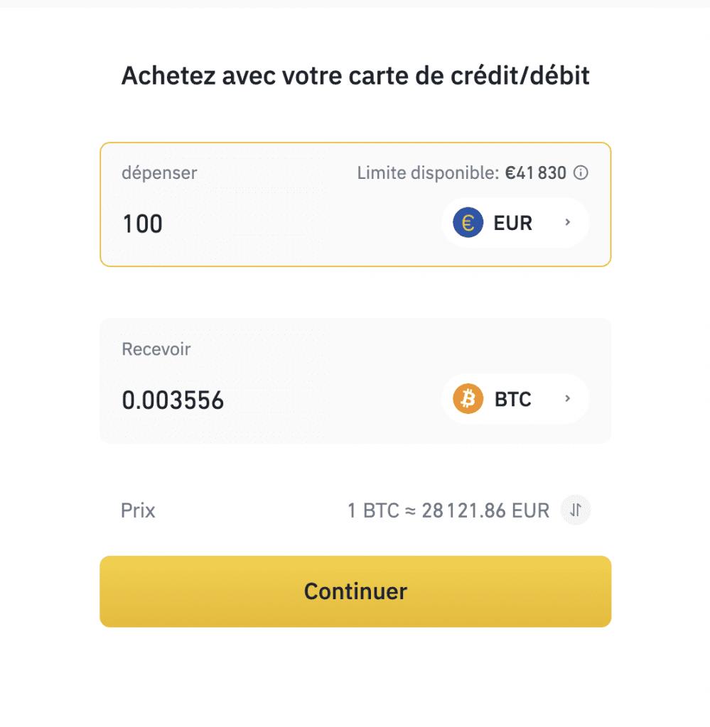 acheter bitcoin binance